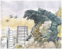 Gamera-in-the-midtown--redrawing by NORIMATSUKeiichi