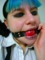 Red rubber ball gag by NightVisionary