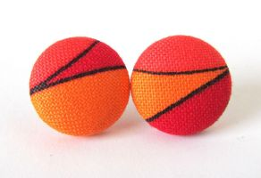 Button earrings studs orange red black tangerine by KooKooCraft