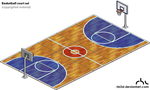 Basketball Court isometric pixel set by rbl3d