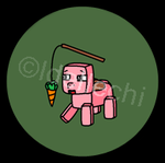 Minecraft Pig Button 1.5 Inch by Idellechi