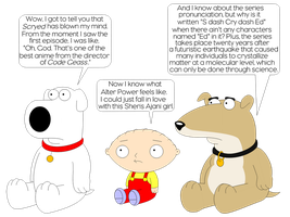 Stewie and his dogs watching and reviewing Scryed by LDEJRuff