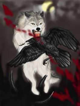 Wolf and Raven by RavenGuardian13