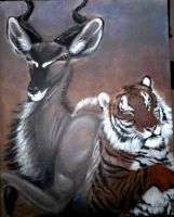 Completed Kudu and tiger by ebonytigress