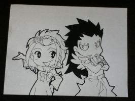 Chibi Levy X Gajeel Lineart by InlineSpeedSkater