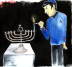 Spock Lights The Menorah--First Night of Chanukah by Hamnerd