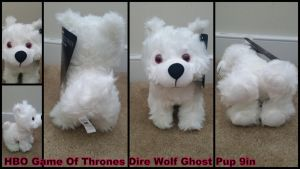 Game of Thrones Dire Wolf Ghost Pup 9in by Vesperwolfy87