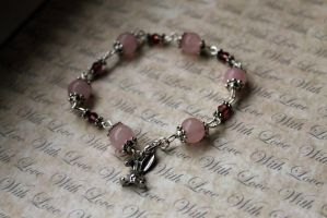 Pink Rose Quartz Beaded Bracelet with Bunny Rabbit by Clerdy