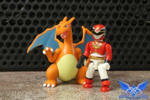 Gosei Red and Charizard by BoboMagroto