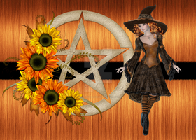 Witch with Floral Pentagram by RedHeadFalcon