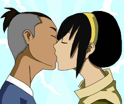 sokka and toph kiss by rotten-jelly-babie