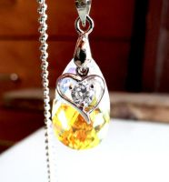 Swarovski AB Teardrop Crystal Necklace by crystaland