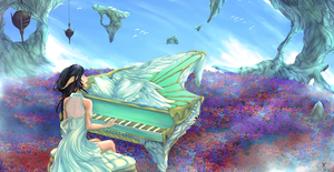 Piano in the Clouds by FuzzyPillow