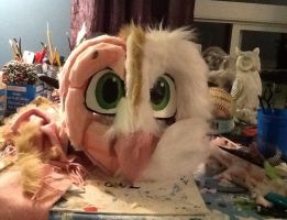Barn Owl fursuit head WIP 2 by ProjectOWL