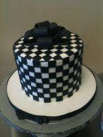 Checkered Cake Present by Spudnuts