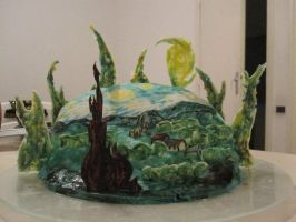 Starry Night cake 1 by recycledrapunzel
