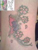 Butterfly with cherry blossoms tattoo by xpekalx
