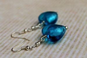Handmade Blue Glass Foil Heart Earrings by Clerdy