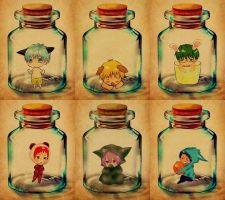 Chibi miracles in bottles... by Xin-W
