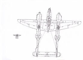 P-38 Lightning Squad Sketch by AlexanderCrW