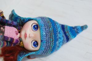 Hat for Blythe Crochet Blue by iasio