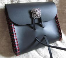 Black Bag with Red Stitching by EarthlyLeatherDesign