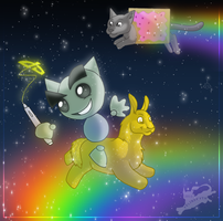 Walking on Rainbows :D by FelineMyth