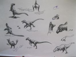 Sketchdump: Theropods and pterosaur by Xiphactinus