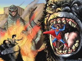 Superman vs Godzilla Vs King Kong by MatthewPetz