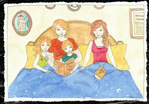 Reading fairytales -- Family portrait by Traumfaengerin-Wish