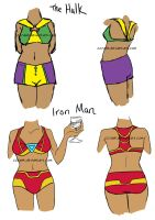 The Hulk and Iron Man Swimsuits by ccRask