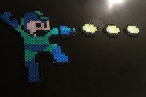 Perler Megaman going Pew pew pew by cracklebyte