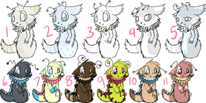 More feathery snake adoptables by Pikagalli