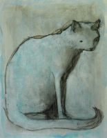 Sitting Cat in Blue by SethFitts