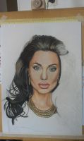 Drawing progress -  color pencil Angelina Jolie by byMichaelX