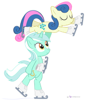 Lyra and Bon Bon in 'Figureskaters' by dm29