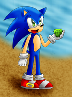 Sonic on the beach by AurulentSoul