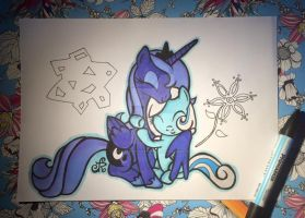 Luna and Snowdrop (anno 2015) by Itstartswithapencil