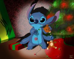 Stitch's first Christmas by DylanXBB