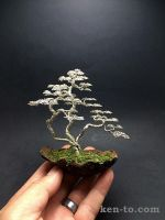 Three-trunk wire bonsai tree sculpture by Ken To by KenToArt