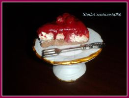 Cherry cake slice- polymer clay by gothicstella