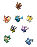 Eeveelutions + Porygon by Cm98Sprites