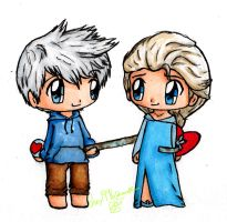 Jack Frost and Elsa the Snow Queen by gummigator