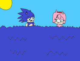 Sonic and Amy Skinny Dipping by Simpsonsfanatic33
