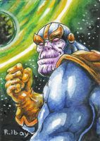 Thanos water color by dGREAT1