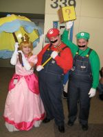 The Mario Bros. and Peach by AngstyGuy