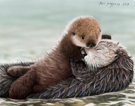 Sea Otter Pup hugs Mom, Nom your Mom by Psithyrus