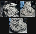 Dragon Sculpture COMPLETE! View set 2 Pre bake by Meadowknight