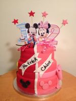 Mickey and Minnie Mouse cake by SamuelDesigns