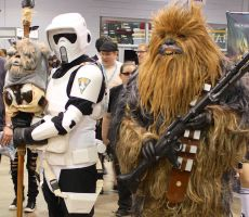 Scout Trooper with Chewbacca by GrumpyCosplay